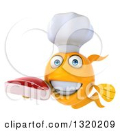 Clipart Of A 3d Happy Yellow Fish Chef Holding A Beef Steak Royalty Free Illustration