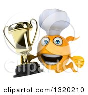 Clipart Of A 3d Yellow Fish Chef Holding A Trophy Royalty Free Illustration