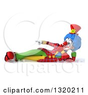 Clipart Of A 3d Colorful Clown Resting On His Side And Pointing Royalty Free Illustration