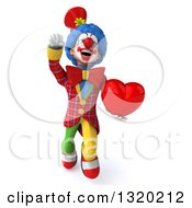 Clipart Of A 3d Colorful Clown Flying And Holding A Heart Royalty Free Illustration