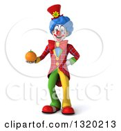 Clipart Of A 3d Colorful Clown Holding A Navel Orange Royalty Free Illustration