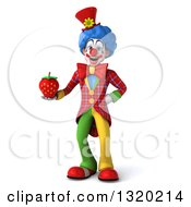 Clipart Of A 3d Colorful Clown Holding A Strawberry Royalty Free Illustration