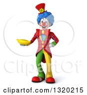 Clipart Of A 3d Colorful Clown Holding A Banana Royalty Free Illustration