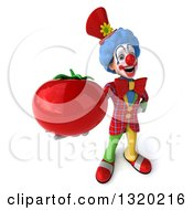 Clipart Of A 3d Colorful Clown Holding Up A Tomato Royalty Free Illustration