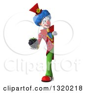Clipart Of A 3d Full Length Colorful Clown Holding A Blackberry Around A Sign Royalty Free Illustration