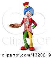 Clipart Of A 3d Colorful Clown Holding A Pizza Royalty Free Illustration