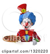 Clipart Of A 3d Colorful Clown Holding A Pizza Over A Sign Royalty Free Illustration