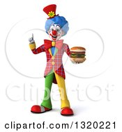 Clipart Of A 3d Colorful Clown Holding Up A Finger And A Double Cheeseburger Royalty Free Illustration