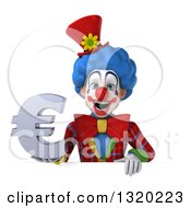 Clipart Of A 3d Colorful Clown Holding A Euro Symbol Over A Sign Royalty Free Illustration