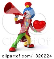 Clipart Of A 3d Colorful Clown Holding A Heart And Using A Megaphone Royalty Free Illustration
