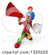 Clipart Of A 3d Colorful Clown Holding A Tooth And Using A Megaphone Royalty Free Illustration