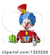 Clipart Of A 3d Colorful Clown Holding A Green Apple Over A Sign Royalty Free Illustration