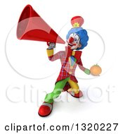 Clipart Of A 3d Colorful Clown Holding A Navel Orange And Announcing Upwards With A Megaphone Royalty Free Illustration