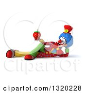 Clipart Of A 3d Colorful Clown Resting On His Side And Holding A Strawberry Royalty Free Illustration