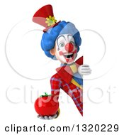 Clipart Of A 3d Colorful Clown Holding A Tomato Around A Sign Royalty Free Illustration