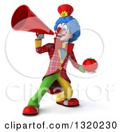 Clipart Of A 3d Colorful Clown Holding A Tomato And Using A Megaphone Royalty Free Illustration