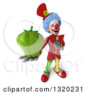 Clipart Of A 3d Colorful Clown Holding Up A Green Bell Pepper Royalty Free Illustration