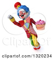 Clipart Of A 3d Colorful Clown Holding A Pink Frosted Cupcake And Flying Royalty Free Illustration