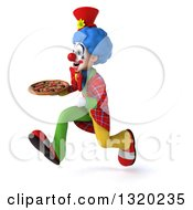 Clipart Of A 3d Colorful Clown Sprinting To The Left With A Pizza Royalty Free Illustration