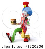 Clipart Of A 3d Colorful Clown Speed Walking To The Left Waving And Holding A Double Cheeseburger Royalty Free Illustration