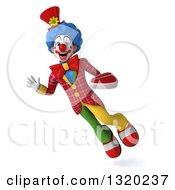 Clipart Of A 3d Colorful Clown Holding A Beef Steak And Flying Royalty Free Illustration