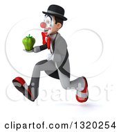Clipart Of A 3d White And Black Clown Sprinting To The Left And Holding A Green Bell Pepper Royalty Free Illustration