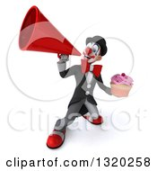 Clipart Of A 3d White And Black Clown Holding A Pink Frosted Cupcake And Announcing Upwards With A Megaphone Royalty Free Illustration