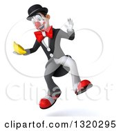 Clipart Of A 3d White And Black Clown Jumping And Holding A Banana Royalty Free Illustration