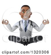 Clipart Of A 3d Young Black Male Doctor Meditating Royalty Free Illustration