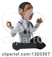 Clipart Of A 3d Young Black Male Doctor Facing Right And Meditating Royalty Free Illustration
