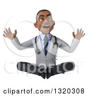Clipart Of A 3d Surprised Young Black Male Doctor Meditating Royalty Free Illustration
