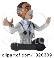 Clipart Of A 3d Surprised Young Black Male Doctor Facing Right And Meditating Royalty Free Illustration