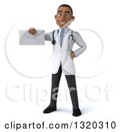 Clipart Of A 3d Young Black Male Doctor Holding An Envelope Royalty Free Illustration
