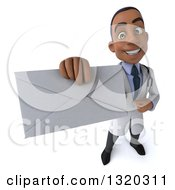 Clipart Of A 3d Young Black Male Doctor Holding Up An Envelope Royalty Free Illustration by Julos