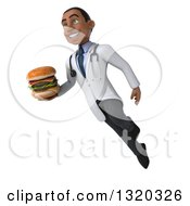 Clipart Of A 3d Young Black Male Nutritionist Doctor Floating And Holding A Double Cheeseburger Royalty Free Illustration