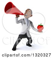 Clipart Of A 3d Young Black Male Nutritionist Doctor Holding A Strawberry And Announcing With A Megaphone Royalty Free Illustration