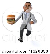 Clipart Of A 3d Young Black Male Nutritionist Doctor Sprinting And Holding A Double Cheeseburger Royalty Free Illustration