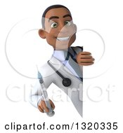 Clipart Of A 3d Young Black Male Doctor Holding A Vaccine Syringe Around A Sign Royalty Free Illustration