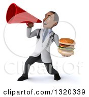 Clipart Of A 3d Young Black Male Nutritionist Doctor Holding A Double Cheeseburger And Announcing To The Left With A Megaphone Royalty Free Illustration