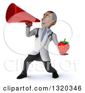 Clipart Of A 3d Young Black Male Nutritionist Doctor Holding A Strawberry And Announcing To The Left With A Megaphone Royalty Free Illustration