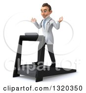 Clipart Of A 3d Young Brunette White Male Doctor Facing Left Walking And Meditating On A Treadmill Royalty Free Illustration