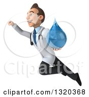 Clipart Of A 3d Young Brunette White Male Doctor Flying Up To The Left And Holding A Water Droplet Royalty Free Illustration