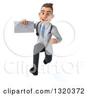 Clipart Of A 3d Young White Male Doctor Sprinting And Holding An Envelope Royalty Free Illustration