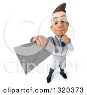 Clipart Of A 3d Young White Male Doctor Thinking And Holding Up An Envelope Royalty Free Illustration