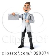 Clipart Of A 3d Young White Male Doctor Holding And Pointing To An Envelope Royalty Free Illustration