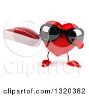 Clipart Of A 3d Heart Character Wearing Sunglasses Holding And Pointing To A Beef Steak Royalty Free Illustration