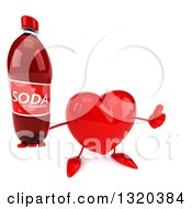 Clipart Of A 3d Heart Character Holding Up A Thumb And Soda Bottle Royalty Free Illustration