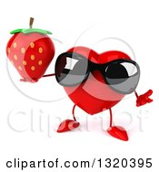 Clipart Of A 3d Heart Character Wearing Sunglasses Shrugging And Holding A Strawberry Royalty Free Illustration