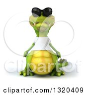 Clipart Of A 3d Casual Crocodile Wearing A White T Shirt And Sunglasses Royalty Free Illustration