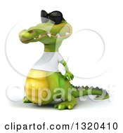 Clipart Of A 3d Casual Crocodile Wearing A White T Shirt And Sunglasses Facing Left Royalty Free Illustration